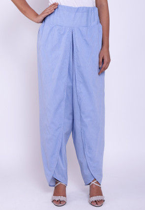 Solid Color Cotton Tulip Pant in Light Blue