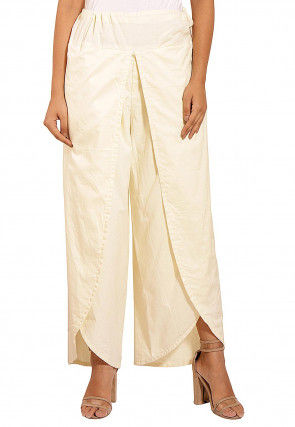 Solid Color Cotton Tulip Pant in Off White
