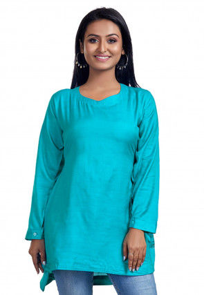Solid Color Cotton Tunic in Turquoise