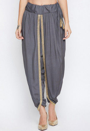 Solid Color Cotton Viscose Dhoti Pant in Grey