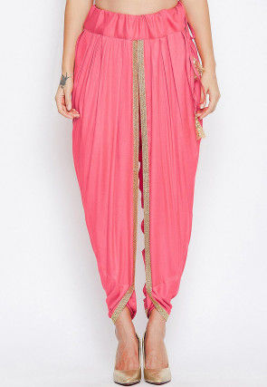 Solid Color Cotton Viscose Dhoti Pant in Pink