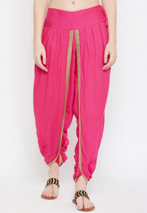 Solid Color Cotton Viscose Dhoti Salwar in Fuschia