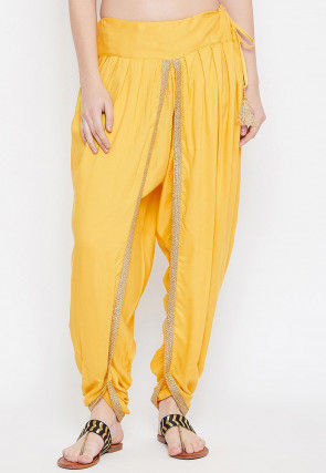 Solid Color Cotton Viscose Dhoti Salwar in Yellow