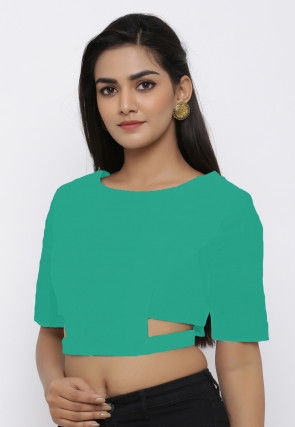 Solid Color Cotton Waist Cut Blouse in Teal Green