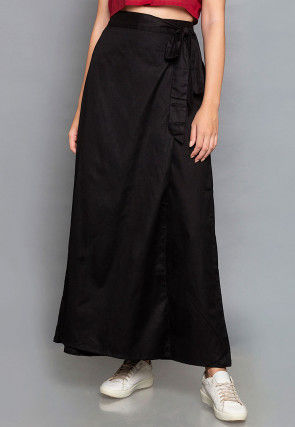 Solid Color Cotton Wrap Around Palazzo in Black