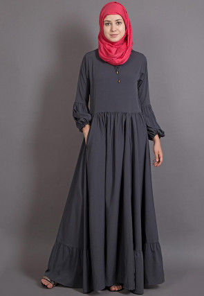Solid Color Crepe Abaya in Dark Grey