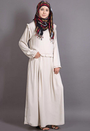 Solid Color Crepe Abaya in Off White