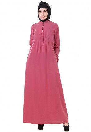 Solid Color Crepe Abaya in Old Rose