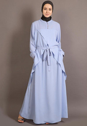 Solid Color Crepe Abaya in Sky Blue