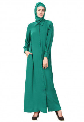 Solid Color Crepe Front Open Abaya in Teal Green