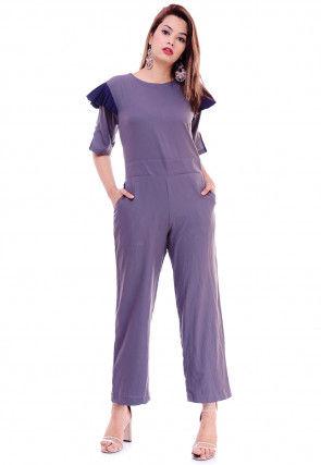 Solid Color Crepe Jumpsuit in Light Purple