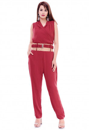 Solid Color Crepe Jumpsuit in Maroon