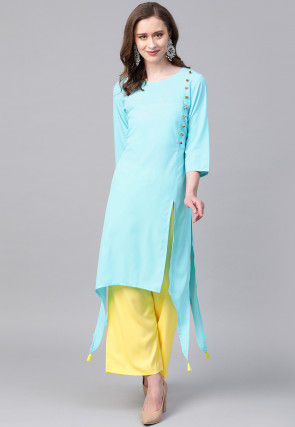 Solid Color Crepe Kurta in Sky Blue