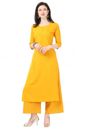Solid Color Crepe Kurta with Foil Printed Palazzo in Mustard
