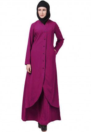 Solid Color Crepe Layered Abaya in Magenta