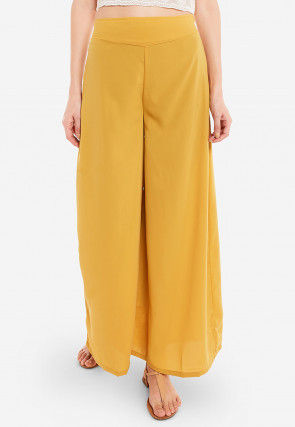 Solid Color Crepe Palazzo in Mustard