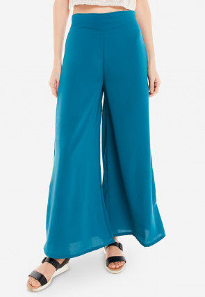 Solid Color Crepe Palazzo in Teal Blue