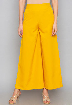 Solid Color Crepe Palazzo in Yellow