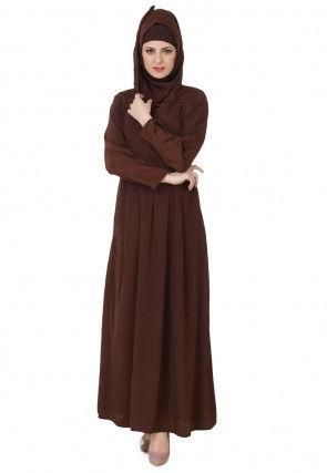 Solid Color Crepe Pleated Abaya in Dark Brown