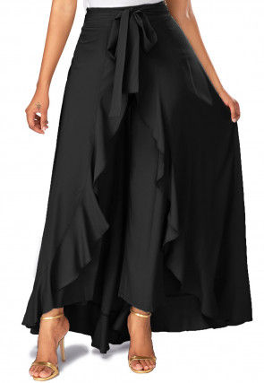 Solid Color Crepe Ruffle Palazzo in Black
