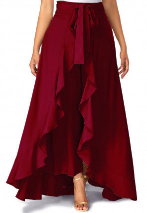 Solid Color Crepe Ruffle Palazzo in Maroon