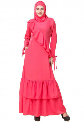 Solid Color Crepe Ruffled Abaya in Pink