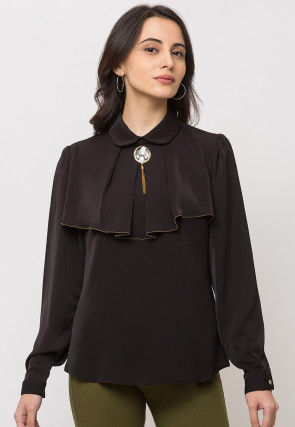 Solid Color Crepe Top in Black