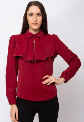 Solid Color Crepe Top in Maroon