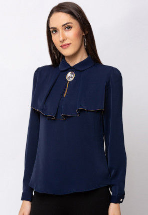 Solid Color Crepe Top in Navy Blue