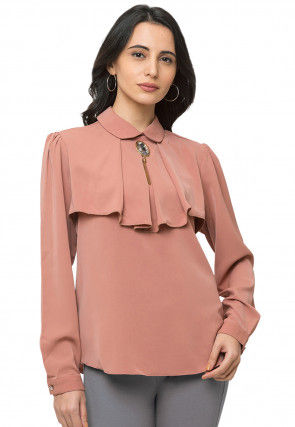 Solid Color Crepe Top in Peach