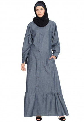 Solid Color Demin Cotton Frilled Abaya in Light Grey