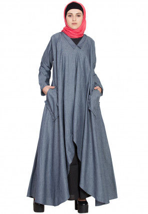 Solid Color Demin Cotton Layered Abaya in Blue and Black