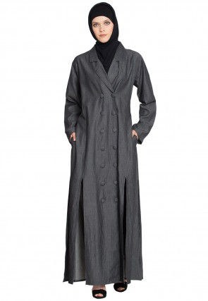 Solid Color Demin Cotton Side Slit Coat Style Abaya in Grey