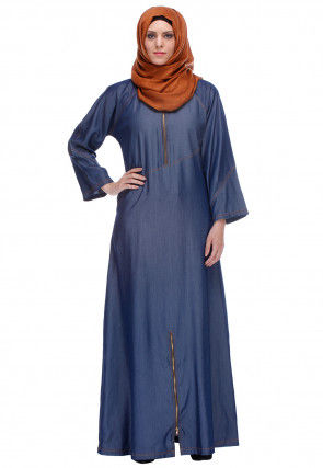 Solid Color Denim Front Open Abaya in Blue