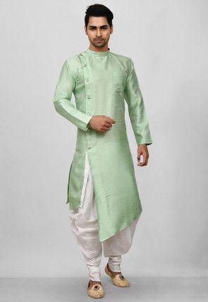 Solid Color Dupion Silk Asymmetric Dhoti Kurta in Pastel Green