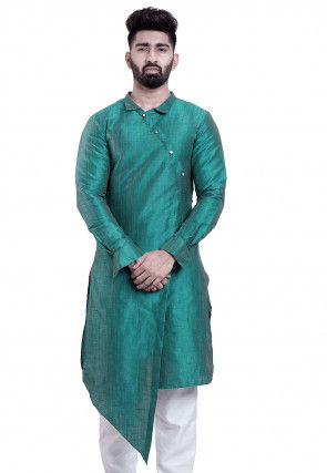 Solid Color Dupion Silk Asymmetric Kurta in Turquoise