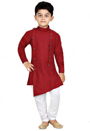 Solid Color Dupion Silk Asymmetric Kurta Set in Maroon