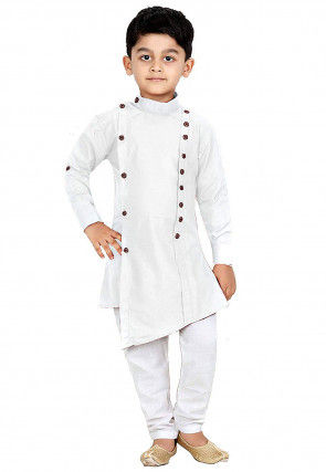 Solid Color Dupion Silk Asymmetric Kurta Set in White