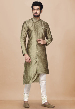 Solid Color Dupion Silk Asymmetric Sherwani in Antique