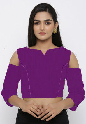 Solid Color Dupion Silk Blouse in Purple