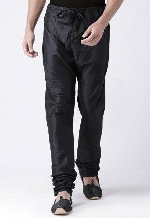 Solid Color Dupion Silk Churidar in Black