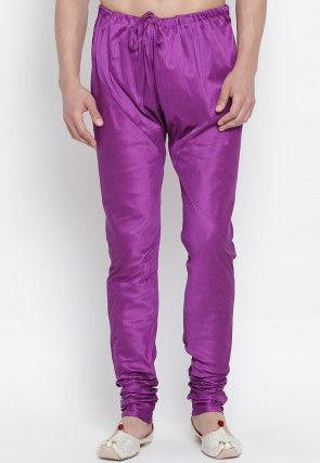 Solid Color Dupion Silk Churidar in Purple
