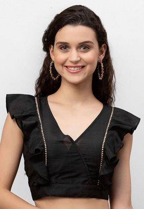 Solid Color Dupion Silk Crop Top in Black