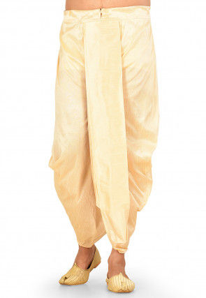 Solid Color Dupion Silk Dhoti in Beige