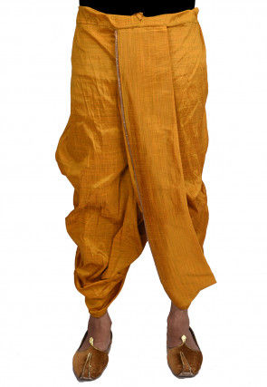 Solid Color Dupion Silk Dhoti in Mustard