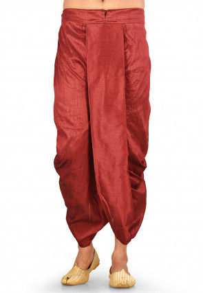 Solid Color Dupion Silk Dhoti in Red