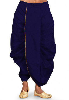 Solid Color Dupion Silk Dhoti in Royal Blue