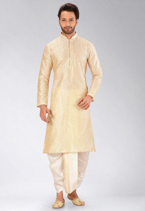 Solid Color Dupion Silk Dhoti Kurta in Beige