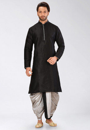 Solid Color Dupion Silk Dhoti Kurta in Black