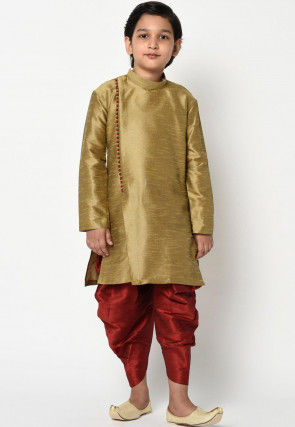 Solid Color Dupion Silk Dhoti Kurta in Dark Beige